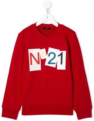 No.21 Kids logo-print relaxed-fit sweatshirt