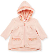 Billieblush Hooded Fringe Zip-Front Sweatshirt, Rose, Size 12-18 Months