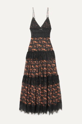 Charo Ruiz Ibiza Dama Crocheted Lace-paneled Floral-print Cotton-blend Voile Maxi Dress - Black