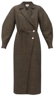 Ganni Crystal-embellished Tweed Coat - Womens - Black