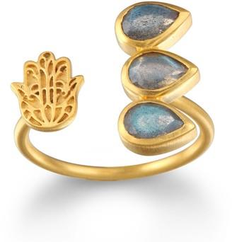 Satya Jewelry Labradorite Gold Hamsa Adjustable Ring Size 7-9