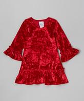 Flap Happy Red Lizzy Crushed Velvet Dress - Infant & Toddler