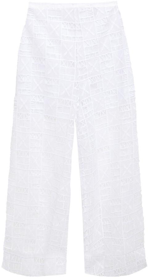 Jets Cropped Guipure Lace Wide-leg Pants