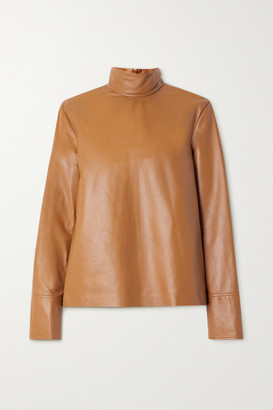 Joseph Bibo Leather Turtleneck Top - Camel
