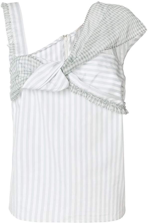 Marco De Vincenzo striped and gingham asymmetric blouse