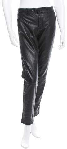 Vince Leather Straight-Leg Pants