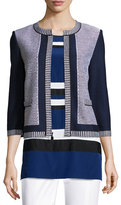 St. John Grenada Patch-Knit 3/4-Sleeve Jacket, Caviar/Vivid Denim