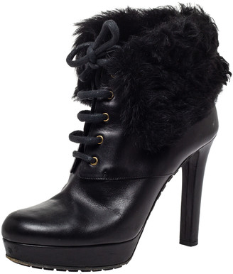 Gucci Black Leather and Fur Trim Lace Up Platform Ankle Boots Size 37
