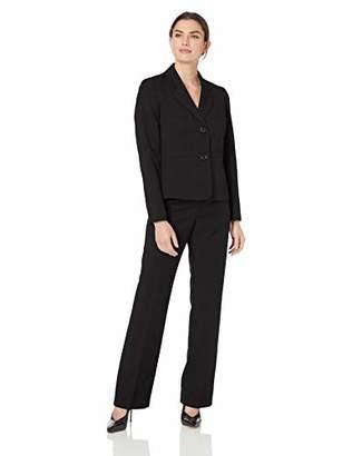 Le Suit Women's 2 Button Notch Collar Melange Pant Suit