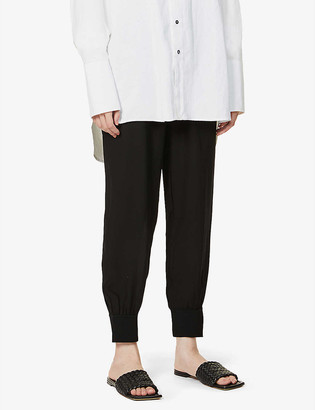 Theory Ribbed straight high-rise silk trousers