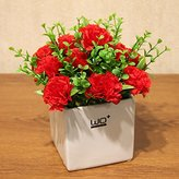 LTYRZHA Emulation flower artificial flowers carnations floral packaged with POTS home decor ornaments silk spinning Mother's Day Gifts