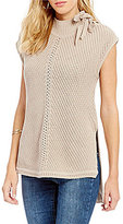 Jessica Simpson Elin Lace-up Mock Neck Sleeveless Sweater
