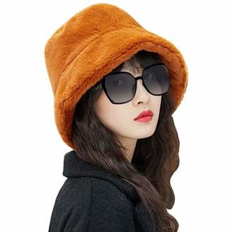 LAPOPNUT Women Faux Fur Bucket Hat Cap Bush Hat Wide Brim Fluffy Winter Vintage Super Soft Hat Brown