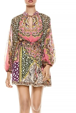 Alice + Olivia Lilian Printed Belted Dress