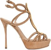 Sergio Rossi 120mm Circle Laser-Cut Suede Sandals