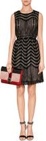 Anna Sui Wavy Scallop Cutout Dress in Black Multi