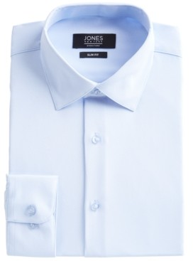Jones New York Men's Slim-Fit Performance 4-Way Stretch Tech Light Blue Solid Dress Shirt