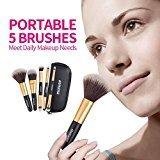 Makeup Brushes - Momoup Mini Premium Makeup Brush Set Foundation Blending Blush Eyeliner Face Powder Brush Makeup Brush Kit ( 5 pcs, Golden Black)