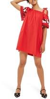 Topshop Women's Embroidered Cold Shoulder Dress