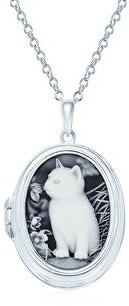 Overstock Vintage Style Black Kitten Cat Cameo Locket Necklace Sterling Silver