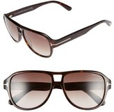 Tom Ford Men's 'Dylan' 57Mm Aviator Sunglasses - Black/ Green