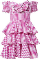 Caroline Constas Helena Bow Front Gingham Dress