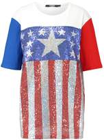 Jaded London STARS AND STRIPES SEQUIN PANELLED OVERSIZED TEE Print Tshirt multicoloured