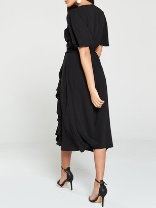 Very VIENNA Wrap Frill Midi Dress - Black