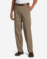 Eddie Bauer Men's Wrinkle-Free Relaxed Fit Comfort Waist Flat Front Performance Dress Khaki Pants