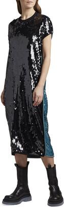 Bottega Veneta Two-Tone Sequined Oversized T-Shirt Dress