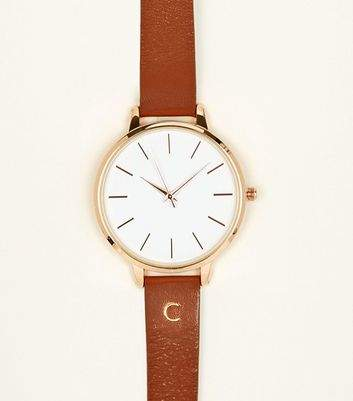 New Look Tan C Initial Leather Watch