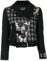 Moschino patch biker jacket