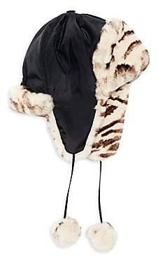 Adrienne Landau Women's Rabbit Fur-Lined Trapper Hat