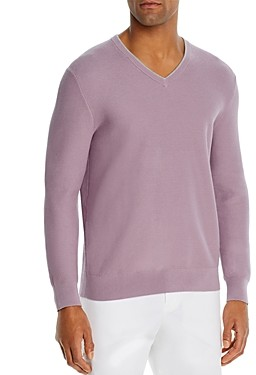 The Men's Store at Bloomingdale's Cotton Tipped Textured Birdseye Classic Fit V-Neck Sweater - 100% Exclusive