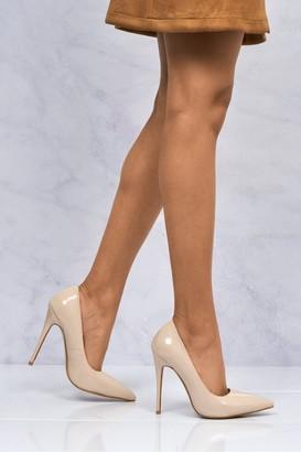 Miss Diva Mila High Stiletto Heel Court Shoe In Nude Patent