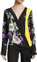 Diane von Furstenberg Floral-Print Silk Crossover Tie Blouse, Multicolor