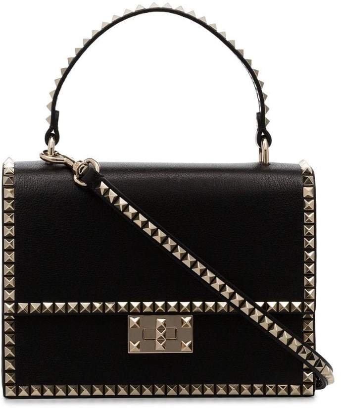 Valentino black Rockstud No Limit Leather Bag