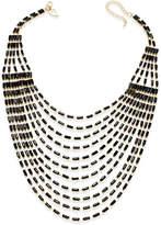 Thalia Sodi Gold-Tone Multi-Row Black Bead Bib Necklace, Created for Macy's