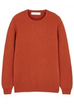 Private White V.c. Orange Ribbed Cashmere Jumper