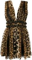 Saint Laurent animal print silk mini dress
