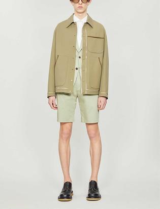Fendi Contrast-binding collared wool-blend jacket