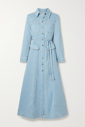 Nanushka Jiaye Belted Denim Maxi Dress - Mid denim