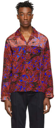 3.1 Phillip Lim Red and Blue Palm Tree Floral Souvenir Shirt