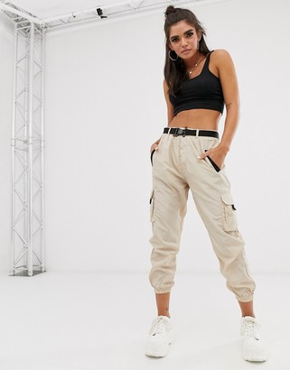 Qed London elasticated cuff cargo trousers in stone