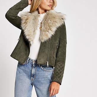 River Island Khaki faux fur collar suede biker jacket