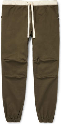 Beams Slim-Fit Tapered Grosgrain-Trimmed Cotton-Blend Twill Drawstring Trousers