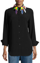 Christopher Kane Button-Down Blouse w/Embellished Collar, Black