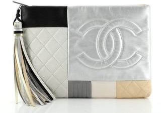 Chanel O Case Clutch Colorblock Quilted Leather Medium
