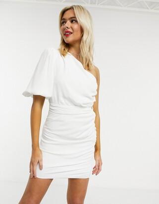 John Zack one shoulder puff sleeve mini shift dress in white