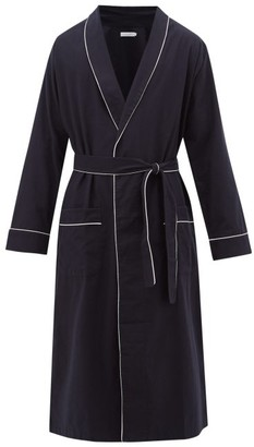 Desmond & Dempsey Piped Brushed Cotton-twill Robe - Navy